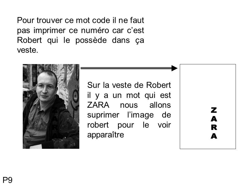 Pour trouver ce mot code il ne faut pas imprimer ce numéro car c'est Robert qui le possède dans ça veste.