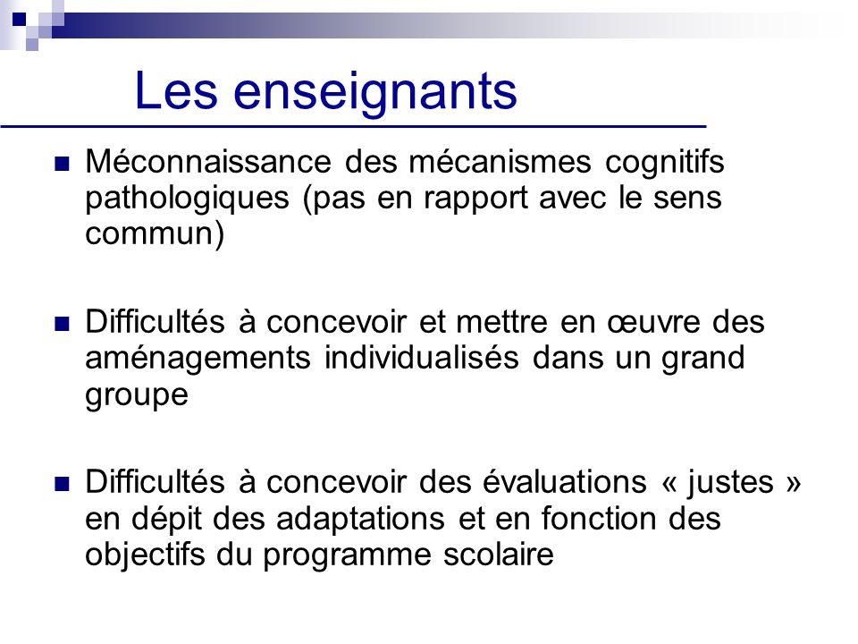 Les enseignants Méconnaissance des mécanismes cognitifs pathologiques (pas en rapport avec le sens commun)