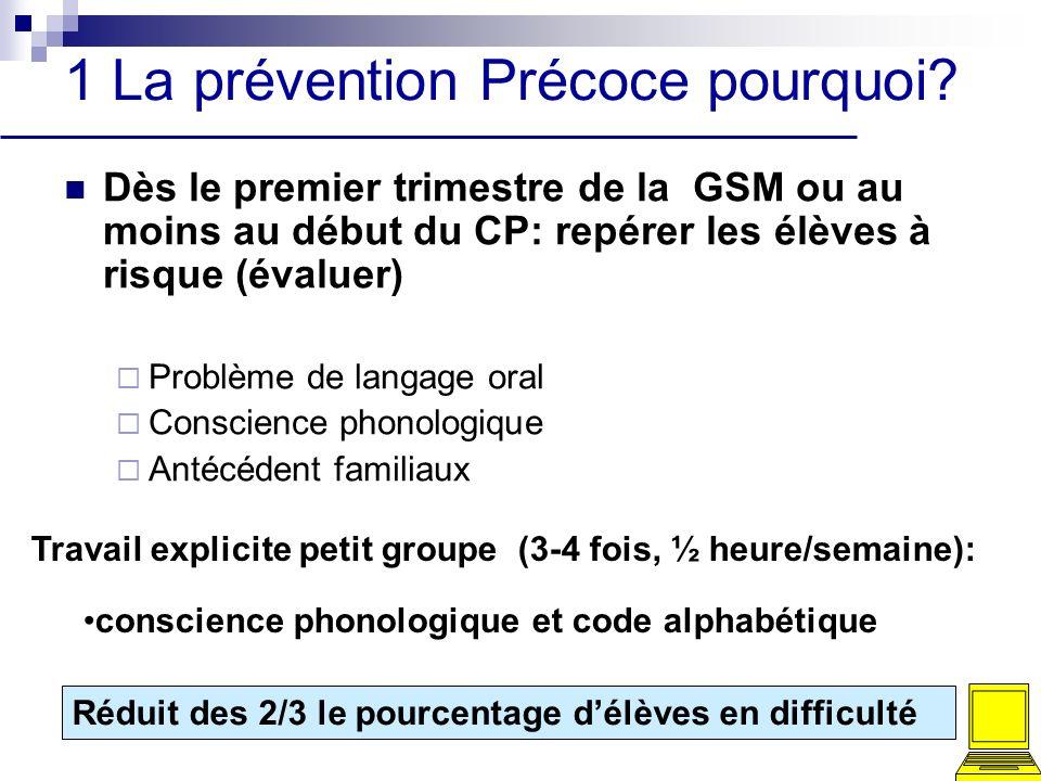 1 La prévention Précoce pourquoi