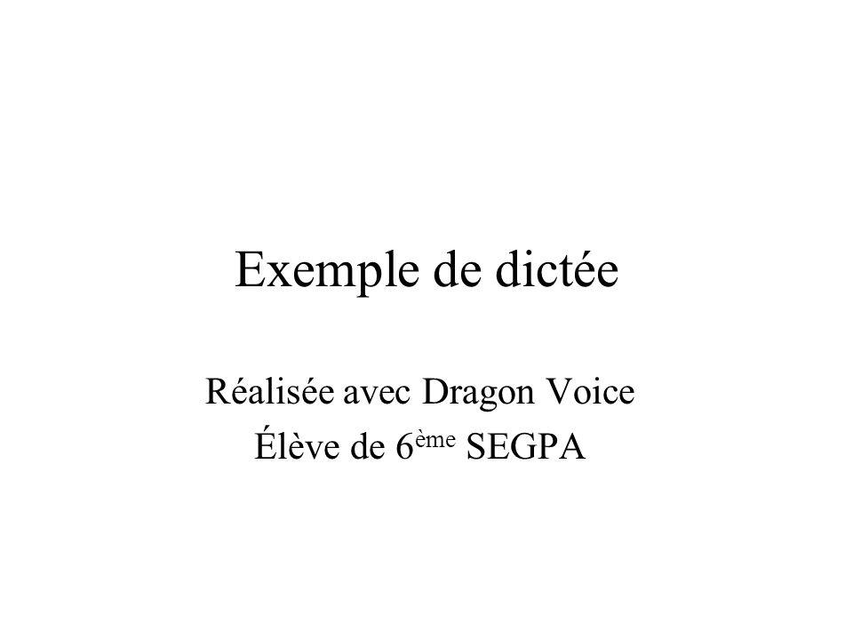 Réalisée avec Dragon Voice Élève de 6ème SEGPA