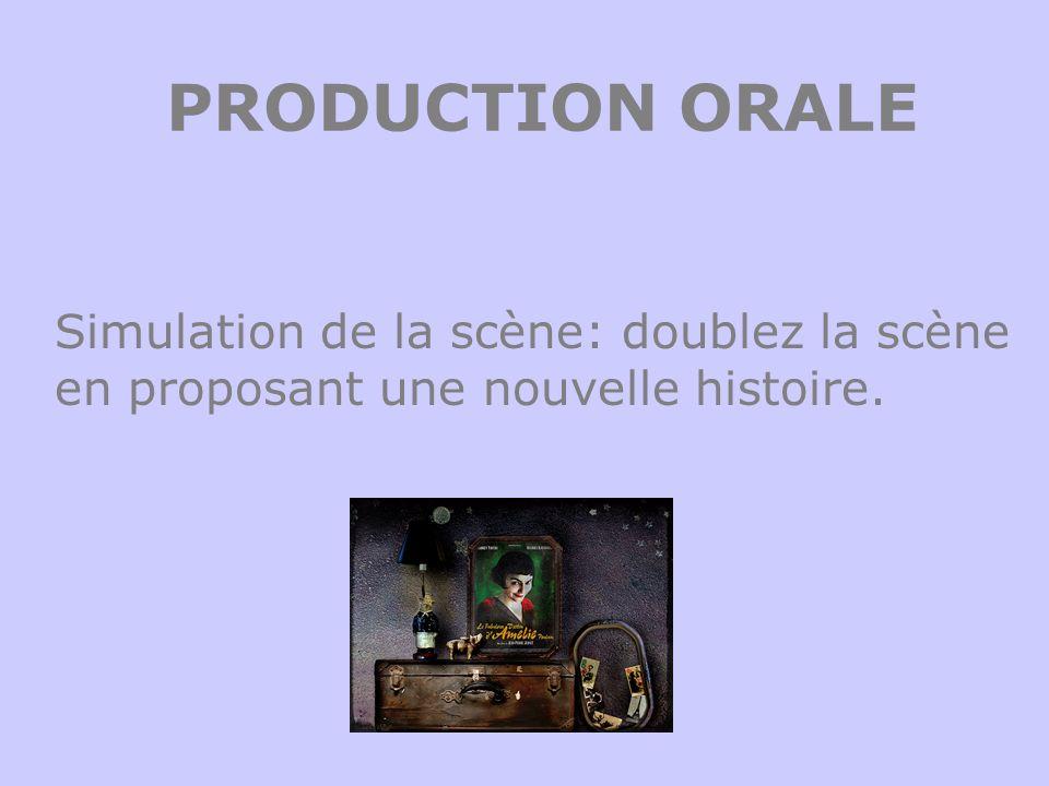 PRODUCTION ORALE Simulation de la scène: doublez la scène en proposant une nouvelle histoire.