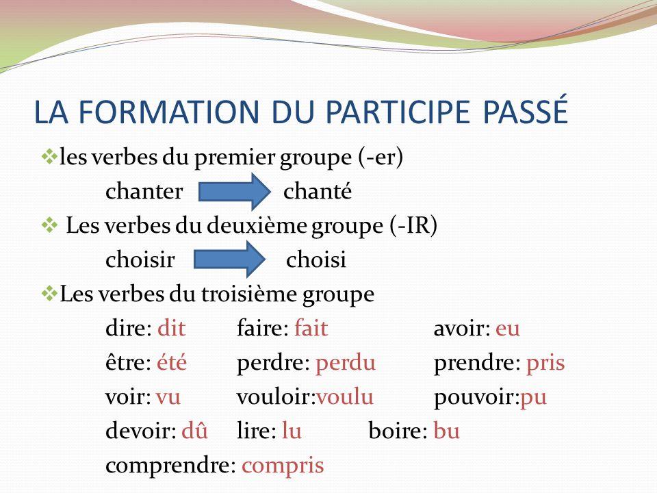 LA FORMATION DU PARTICIPE PASSÉ