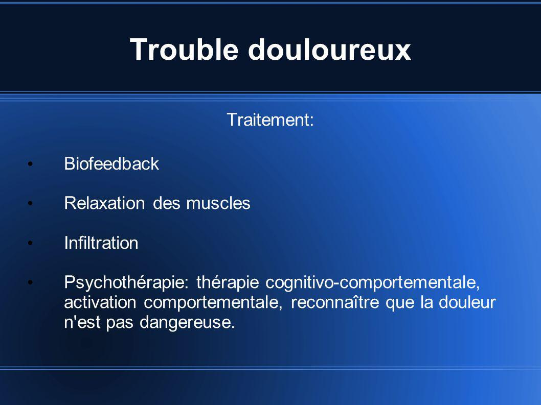Trouble douloureux Traitement: Biofeedback Relaxation des muscles