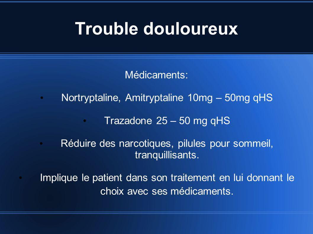 Trouble douloureux Médicaments: