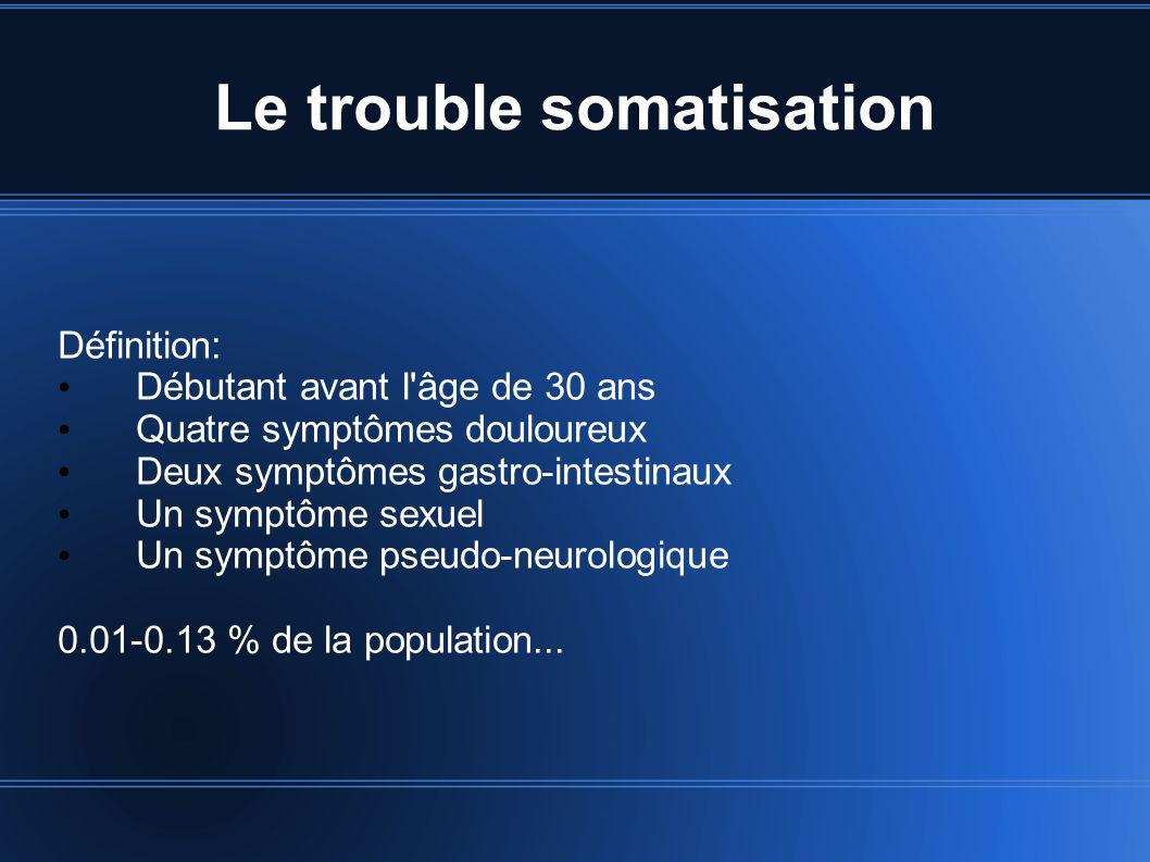 Le trouble somatisation