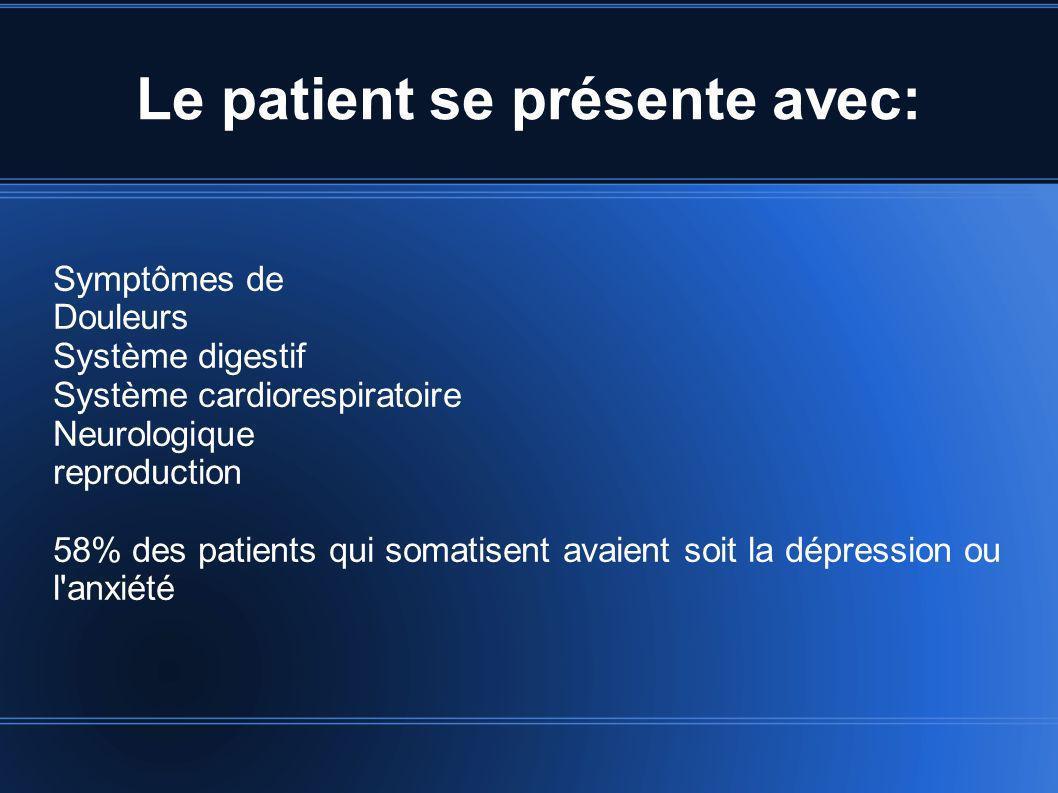 Le patient se présente avec: