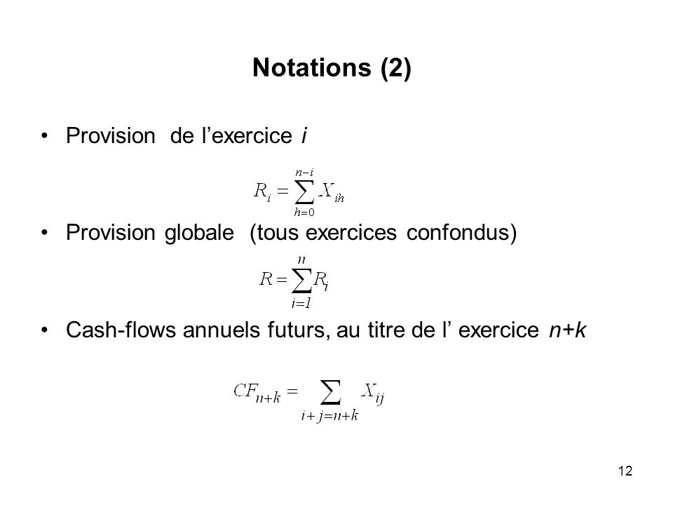 Notations (2) Provision de l'exercice i