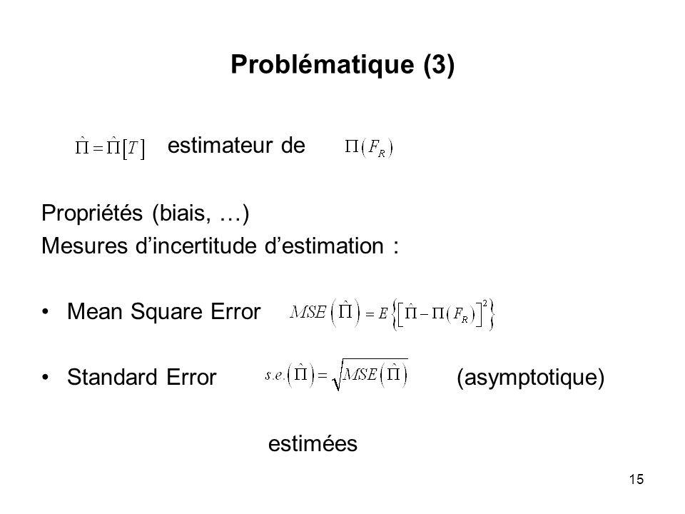 estimateur de Problématique (3) Propriétés (biais, …)