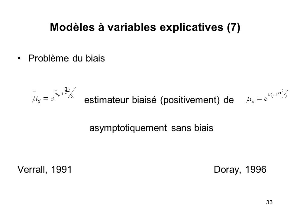 Modèles à variables explicatives (7)