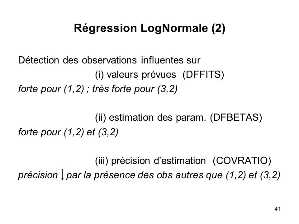 Régression LogNormale (2)