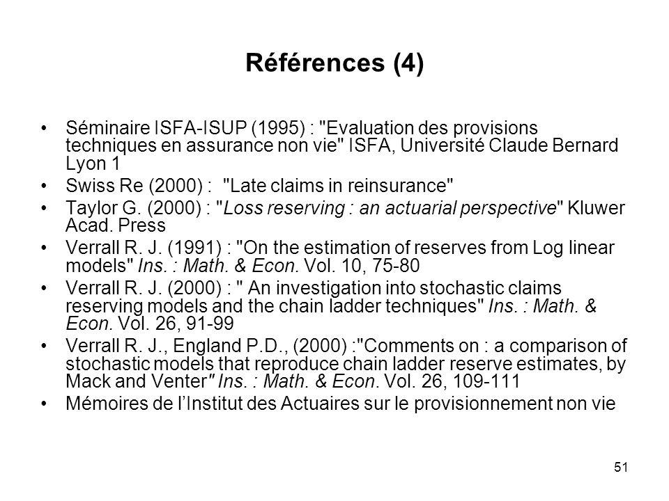 Références (4) Séminaire ISFA-ISUP (1995) : Evaluation des provisions techniques en assurance non vie ISFA, Université Claude Bernard Lyon 1.