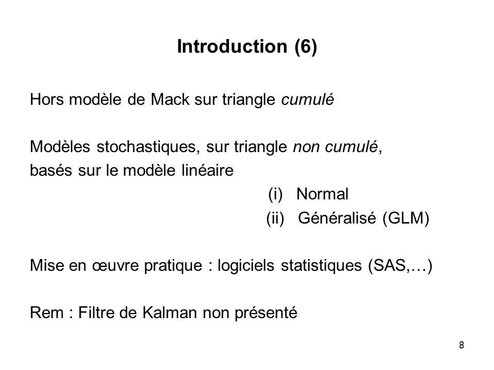 Introduction (6) Hors modèle de Mack sur triangle cumulé