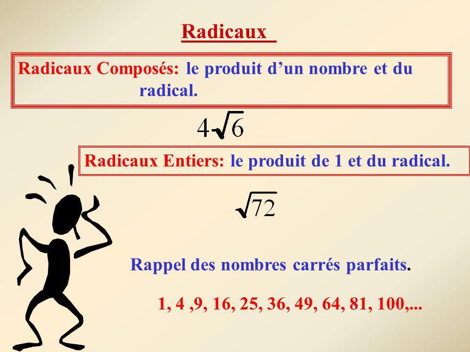 Radicaux Radicaux Composés: le produit d'un nombre et du radical.