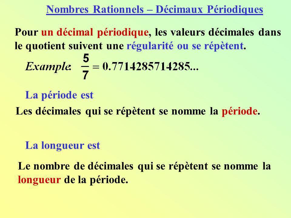 Nombres Rationnels – Décimaux Périodiques