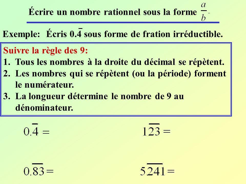 Écrire un nombre rationnel sous la forme
