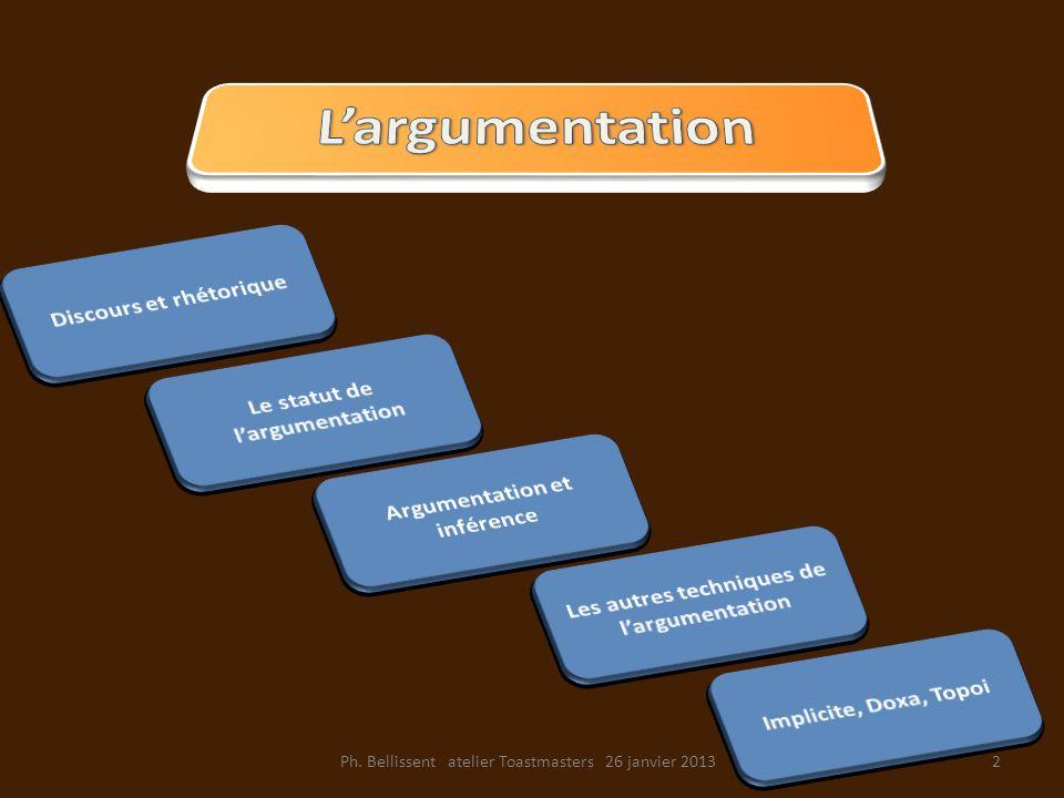 L'argumentation Discours et rhétorique Le statut de l'argumentation