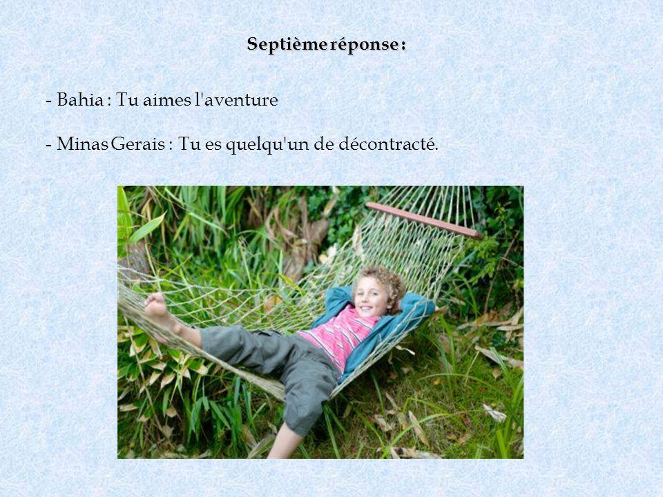 Septième réponse : Bahia : Tu aimes l aventure Minas Gerais : Tu es quelqu un de décontracté.