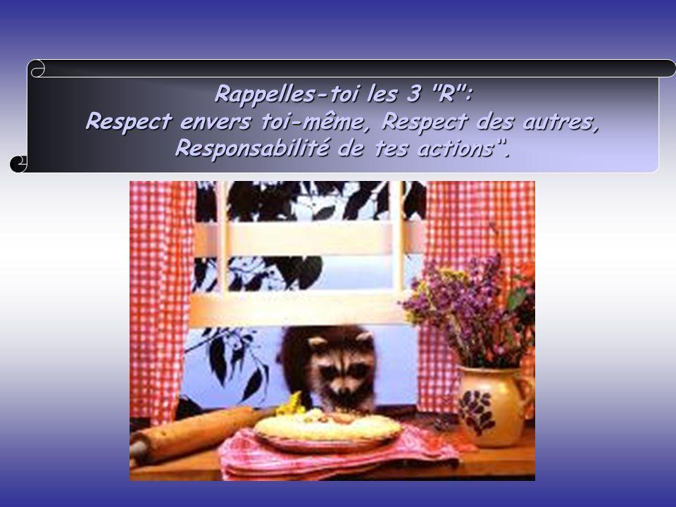 Rappelles-toi les 3 R : Respect envers toi-même, Respect des autres, Responsabilité de tes actions .