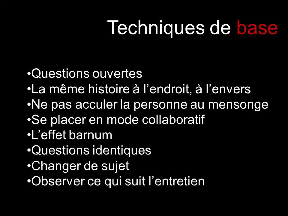Techniques de base Questions ouvertes
