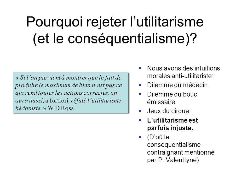 Pourquoi rejeter l'utilitarisme (et le conséquentialisme)