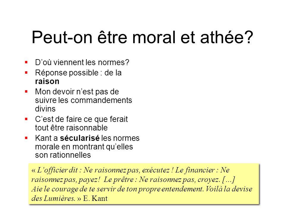 Peut-on être moral et athée