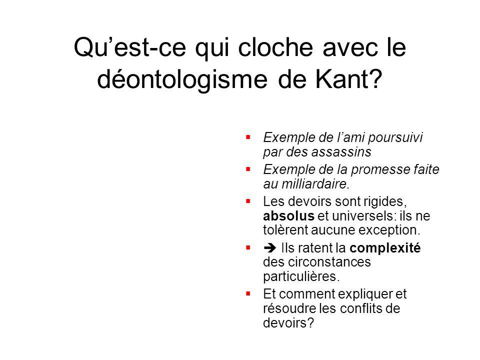 Qu'est-ce qui cloche avec le déontologisme de Kant