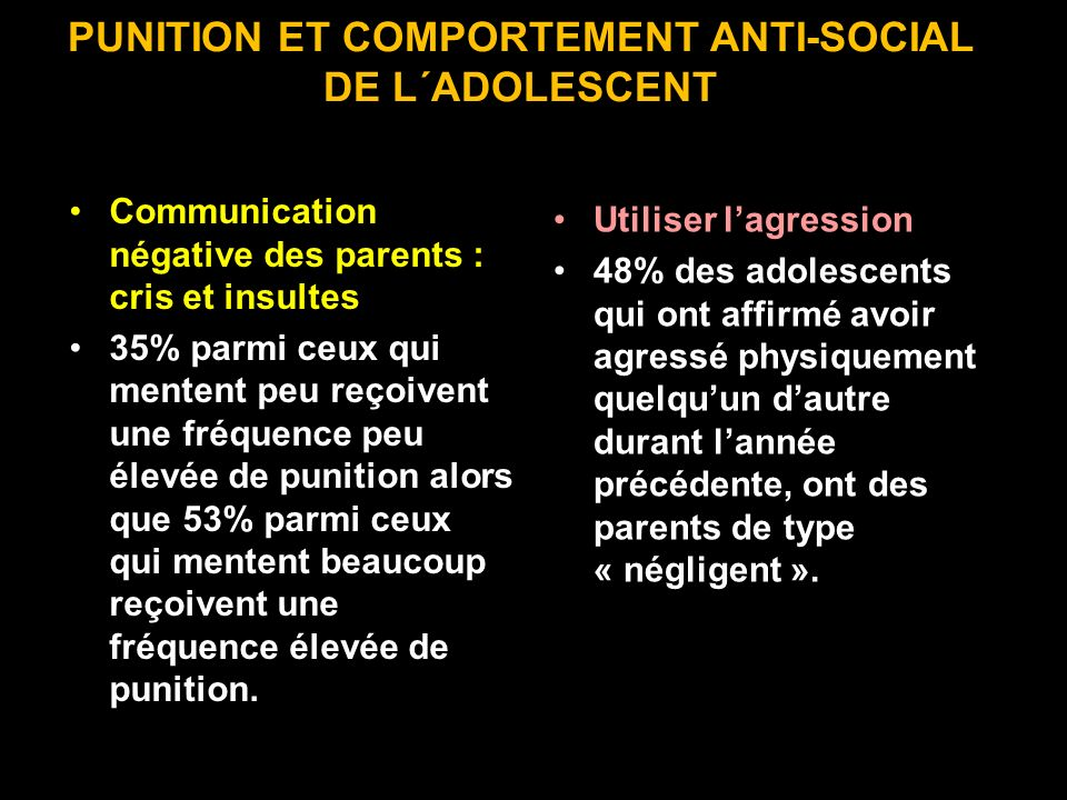 PUNITION ET COMPORTEMENT ANTI-SOCIAL DE L´ADOLESCENT