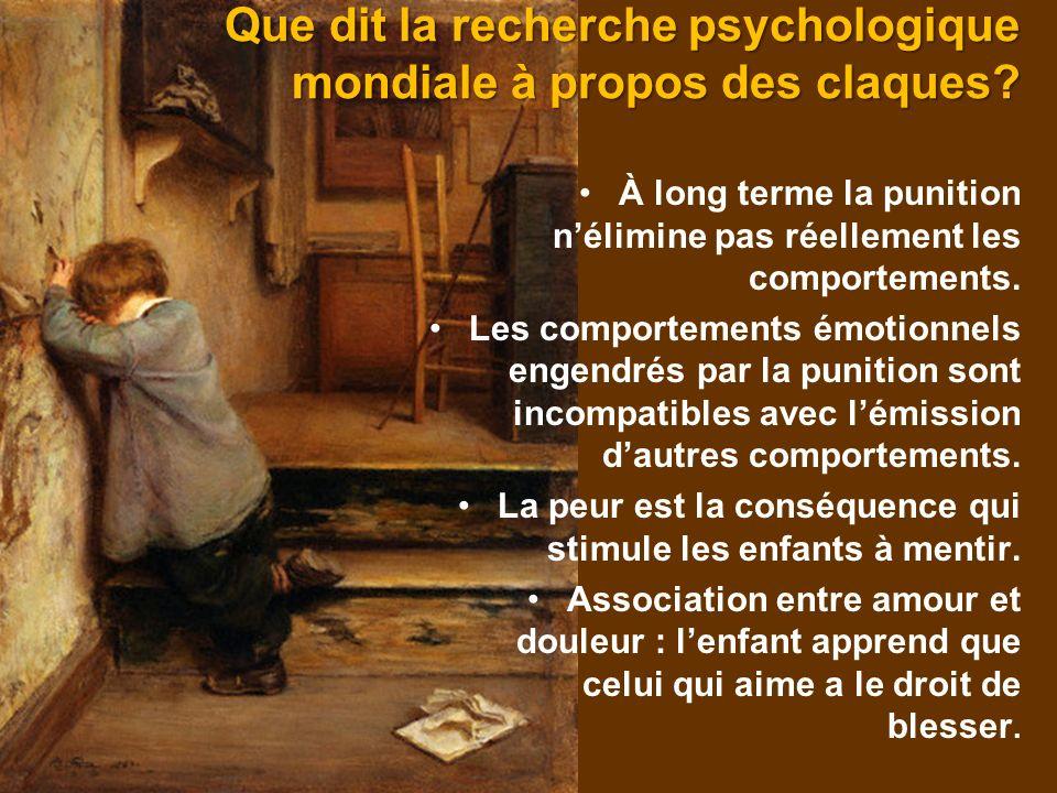 Que dit la recherche psychologique mondiale à propos des claques