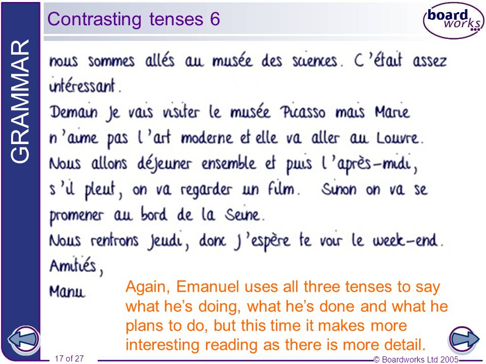 Contrasting tenses 6