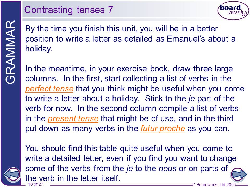 Contrasting tenses 7 By the time you finish this unit, you will be in a better position to write a letter as detailed as Emanuel's about a holiday.