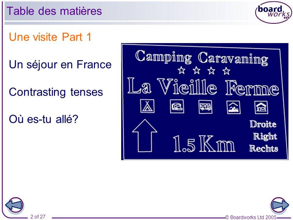 Table des matières Une visite Part 1 Un séjour en France