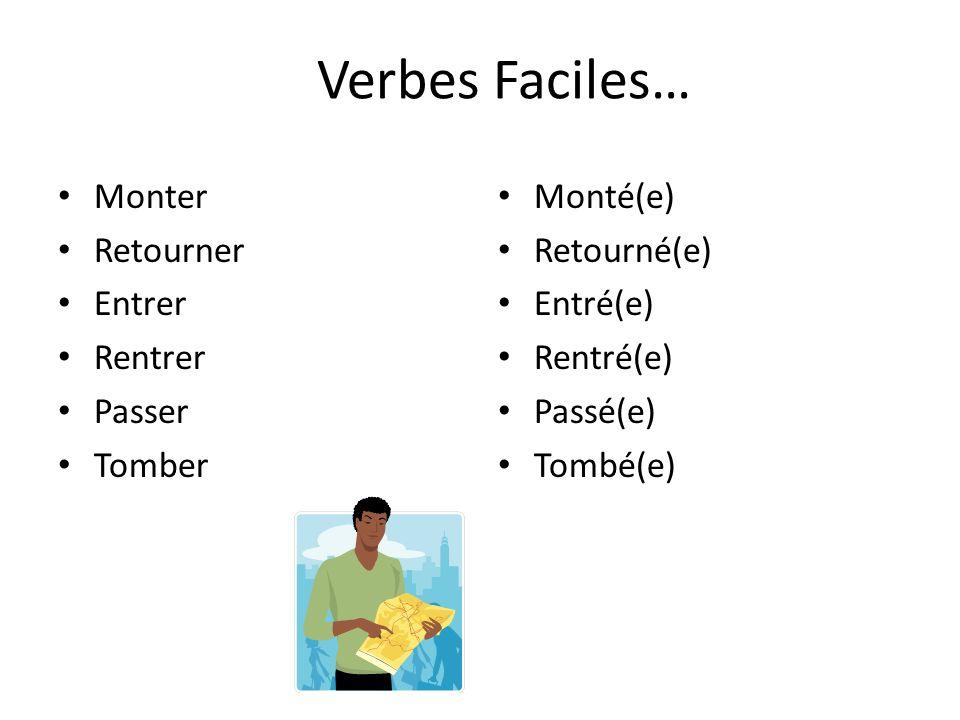 Verbes Faciles… Monter Retourner Entrer Rentrer Passer Tomber Monté(e)