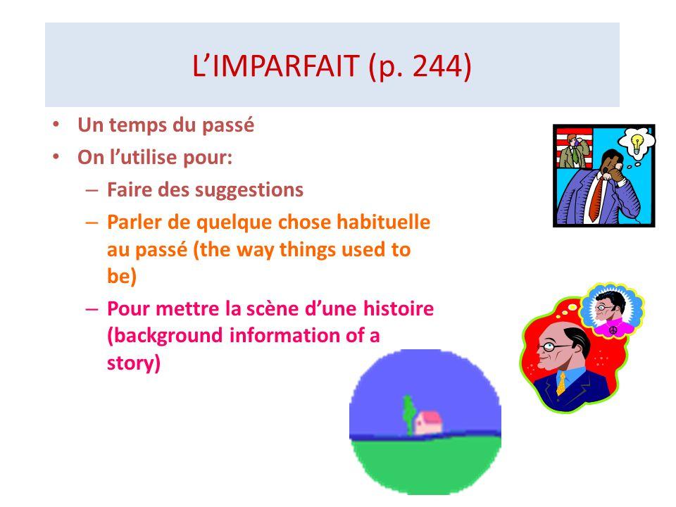 L'IMPARFAIT (p. 244) Un temps du passé On l'utilise pour: