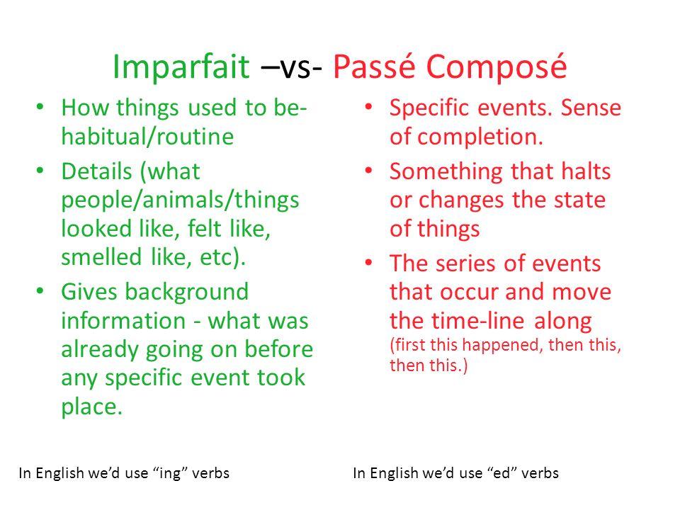 Imparfait –vs- Passé Composé
