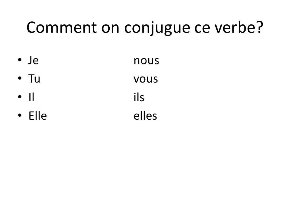 Comment on conjugue ce verbe