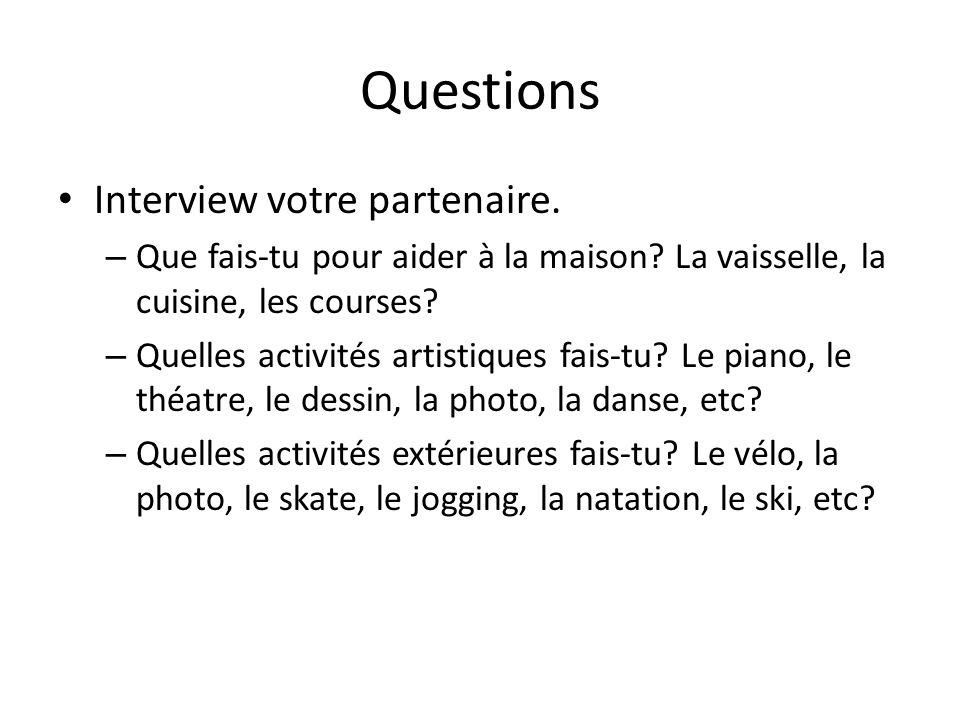 Questions Interview votre partenaire.