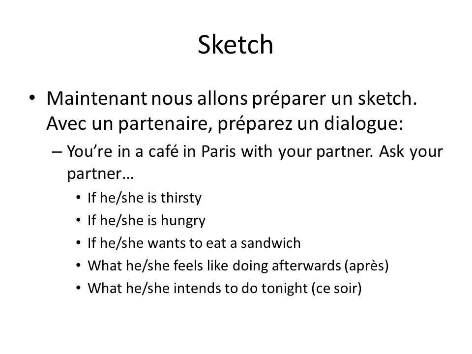 Sketch Maintenant nous allons préparer un sketch. Avec un partenaire, préparez un dialogue: