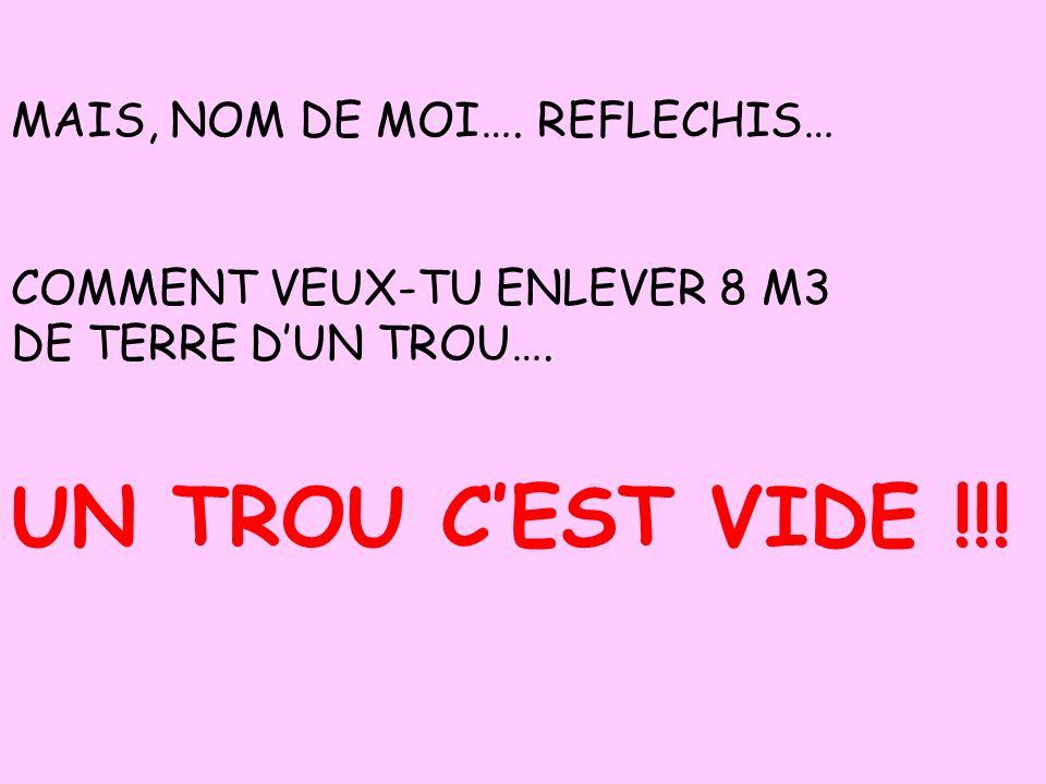 UN TROU C'EST VIDE !!! MAIS, NOM DE MOI…. REFLECHIS…
