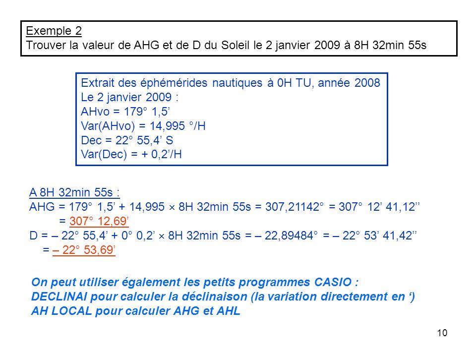 Exemple 2 Trouver la valeur de AHG et de D du Soleil le 2 janvier 2009 à 8H 32min 55s. Extrait des éphémérides nautiques à 0H TU, année 2008.