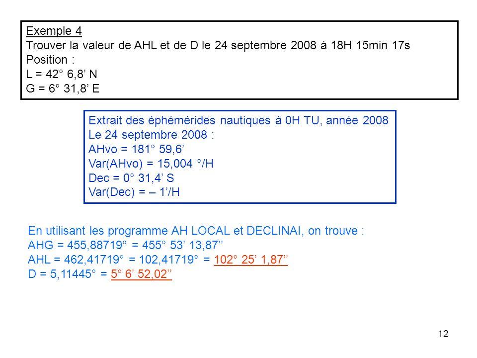 Exemple 4 Trouver la valeur de AHL et de D le 24 septembre 2008 à 18H 15min 17s. Position : L = 42° 6,8' N.