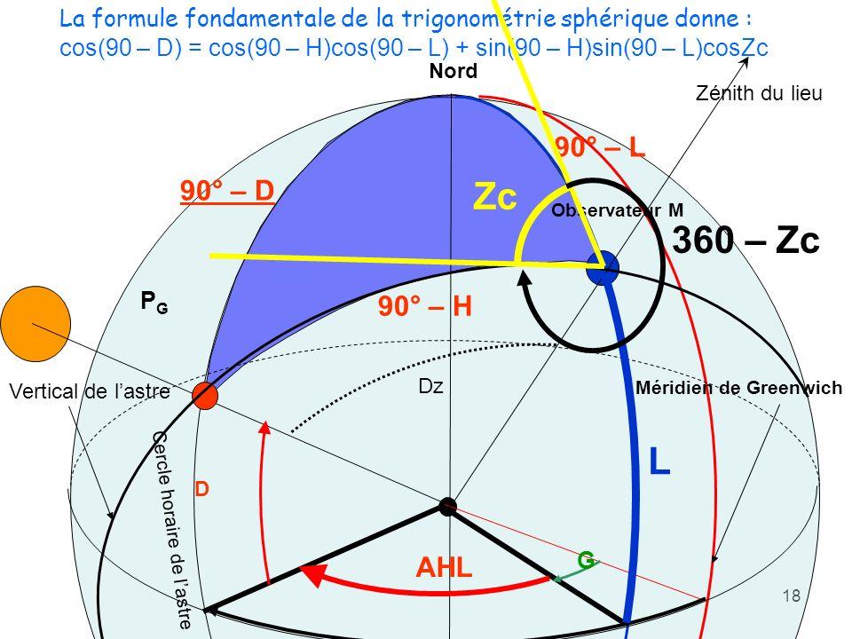 La formule fondamentale de la trigonométrie sphérique donne :