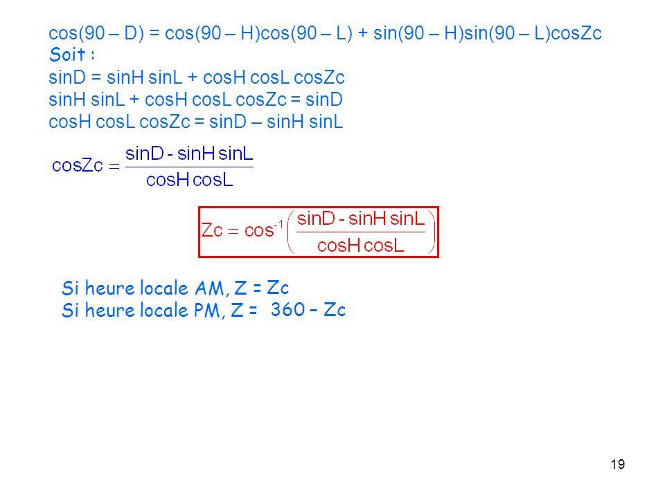 cos(90 – D) = cos(90 – H)cos(90 – L) + sin(90 – H)sin(90 – L)cosZc