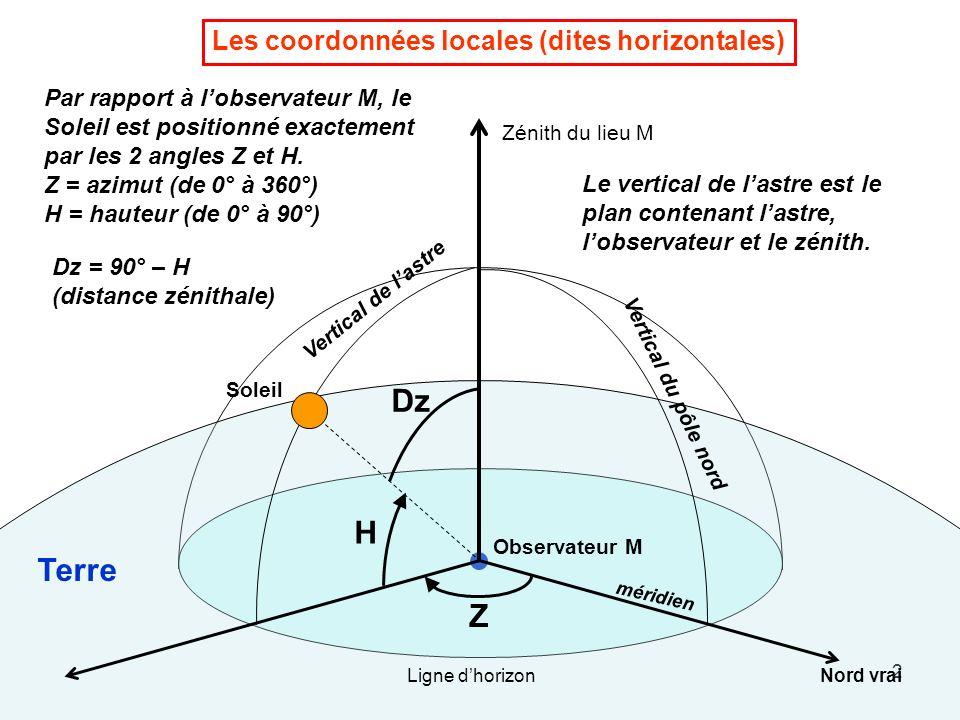 Dz H Terre Z Les coordonnées locales (dites horizontales)