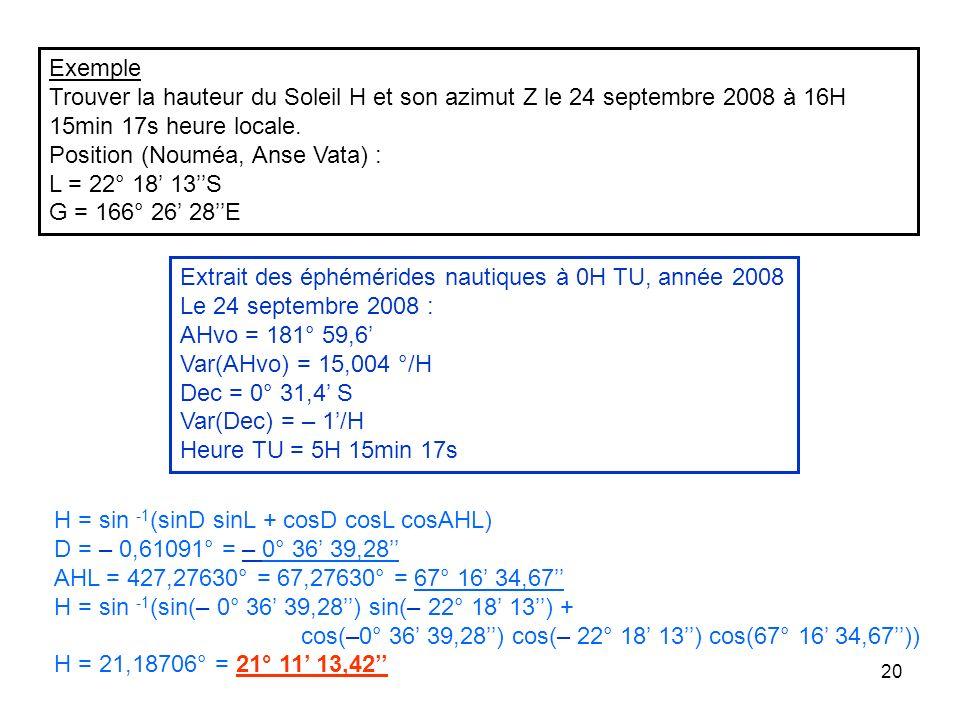 Exemple Trouver la hauteur du Soleil H et son azimut Z le 24 septembre 2008 à 16H 15min 17s heure locale.