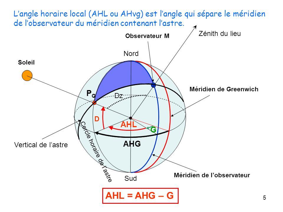 L'angle horaire local (AHL ou AHvg) est l'angle qui sépare le méridien de l'observateur du méridien contenant l'astre.