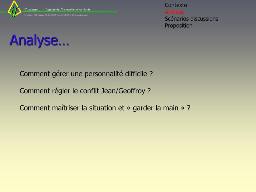 Contexte Analyse Scénarios discussions Proposition Analyse…
