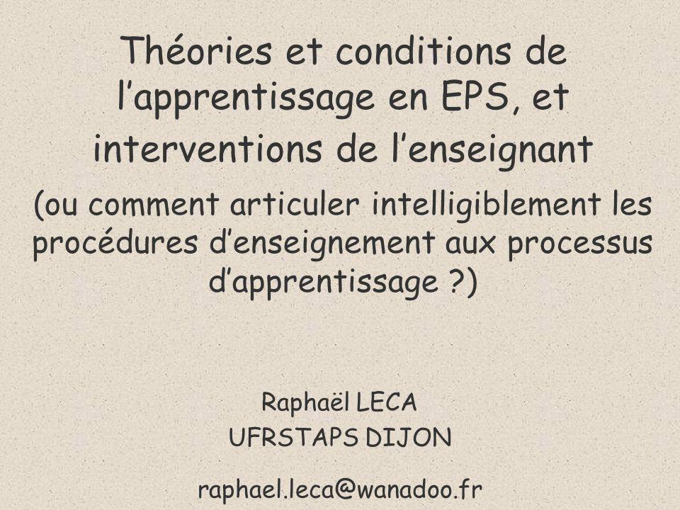 Raphaël LECA UFRSTAPS DIJON raphael.leca@wanadoo.fr
