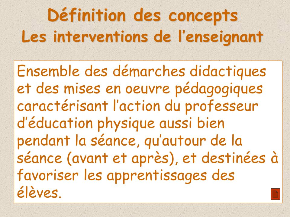 Définition des concepts Les interventions de l'enseignant