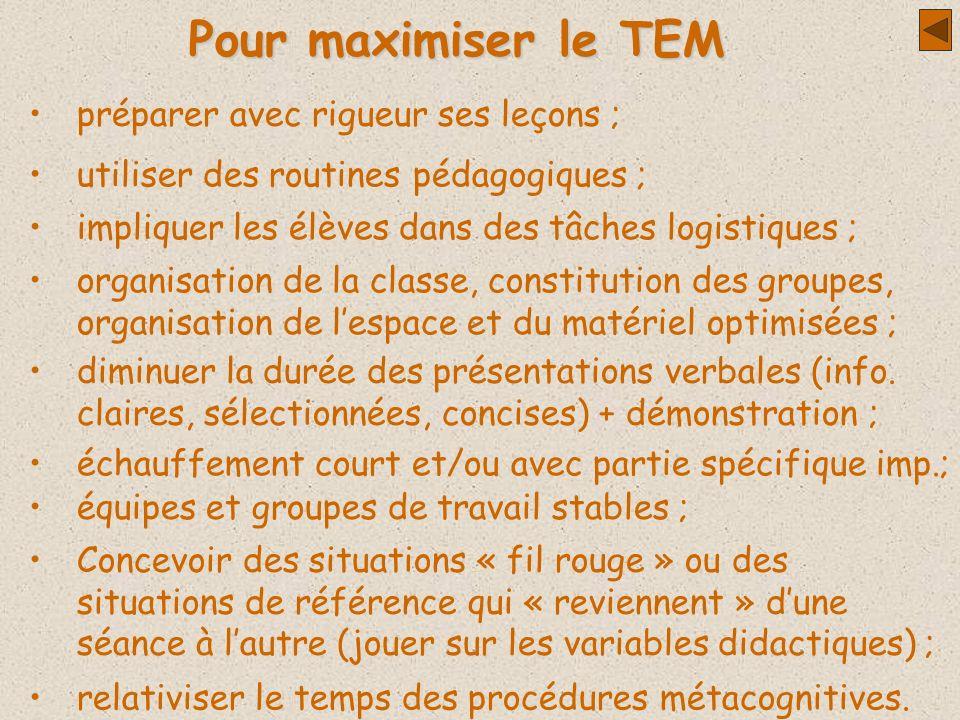 Pour maximiser le TEM préparer avec rigueur ses leçons ;