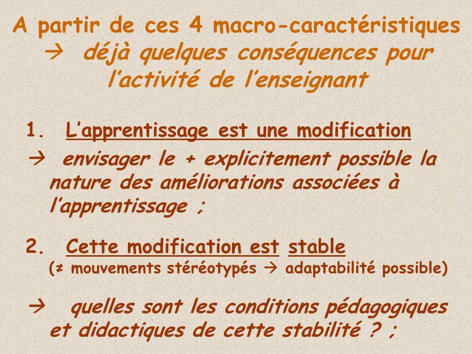 A partir de ces 4 macro-caractéristiques  déjà quelques conséquences pour l'activité de l'enseignant